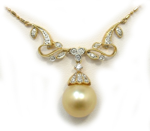 Golden South Sea Pearl Necklace with Diamonds in Vintage Style