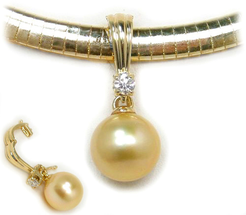 Golden south sea pearl enhancer pendant with aaa south sea pearl and golden south sea pearl pendant golden south sea pearls discount pearl jewelry aloadofball Image collections