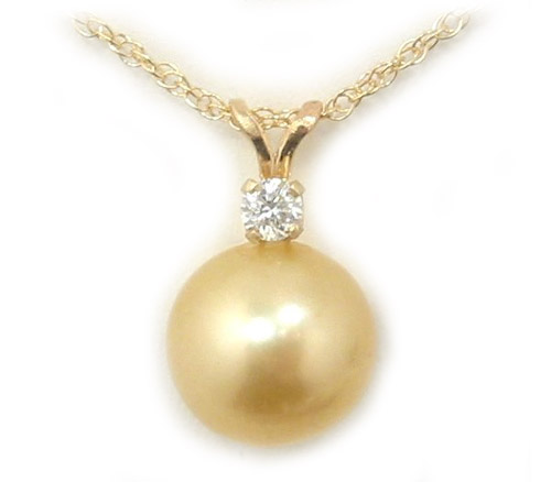 Golden south sea pearl pendant with single diamond accent golden south sea pearl pendant golden south sea pearls discount pearl jewelry aloadofball