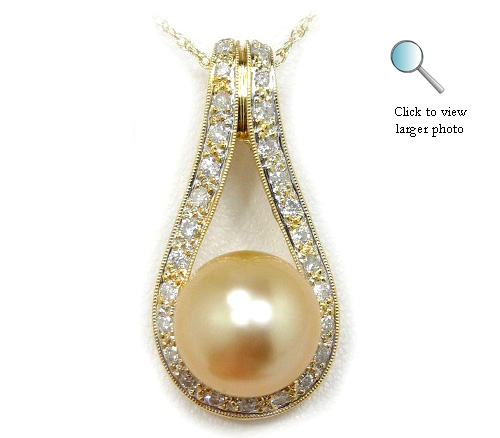 Golden South Sea Pearl Pendant, Golden South Sea Pearls, Discount Pearl Jewelry