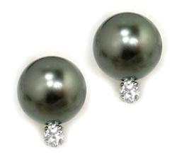 Tahitian Pearl Post Earrings With Diamonds
