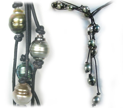 Tahitian Pearl And Leather Necklace: Multicolor Tahitian Pearl Lariat Necklace With Leather