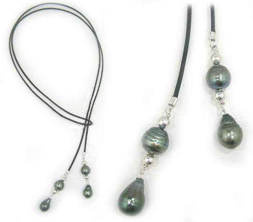 Tahitian Pearl And Leather Necklace: Tahitian Pearl Necklace With Leather Cord And Baroque