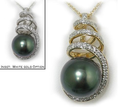 Tahitian black pearl pendant with diamond encrusted spiral bail in tahitian black pearl pendant with diamond encrusted spiral bail in 18k gold aloadofball Choice Image