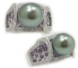 Tahitian Pearl Ring With Diamonds and Amethysts