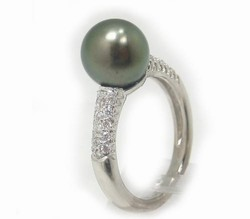 Pave' Diamond Tahitian Black Pearl Ring