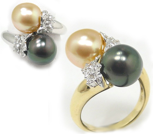 Tahitian Black Pearl Golden South Sea Pearl And Diamond