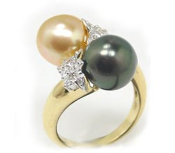 South Sea and Tahitian Pearl Bypass Ring