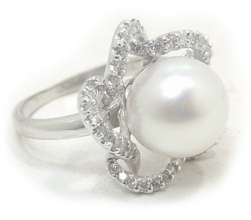 1fc630002349b South Sea Pearl Ring With Pave' Diamond Flower