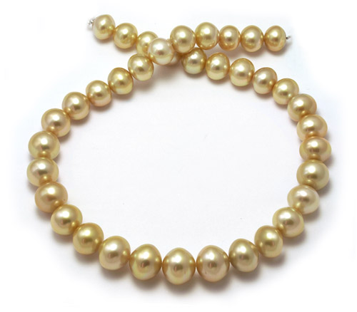 Semi-round golden South Sea pearl necklace