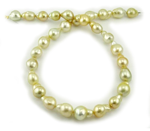 South Sea Pearl Necklace with Baroque Golden pearls