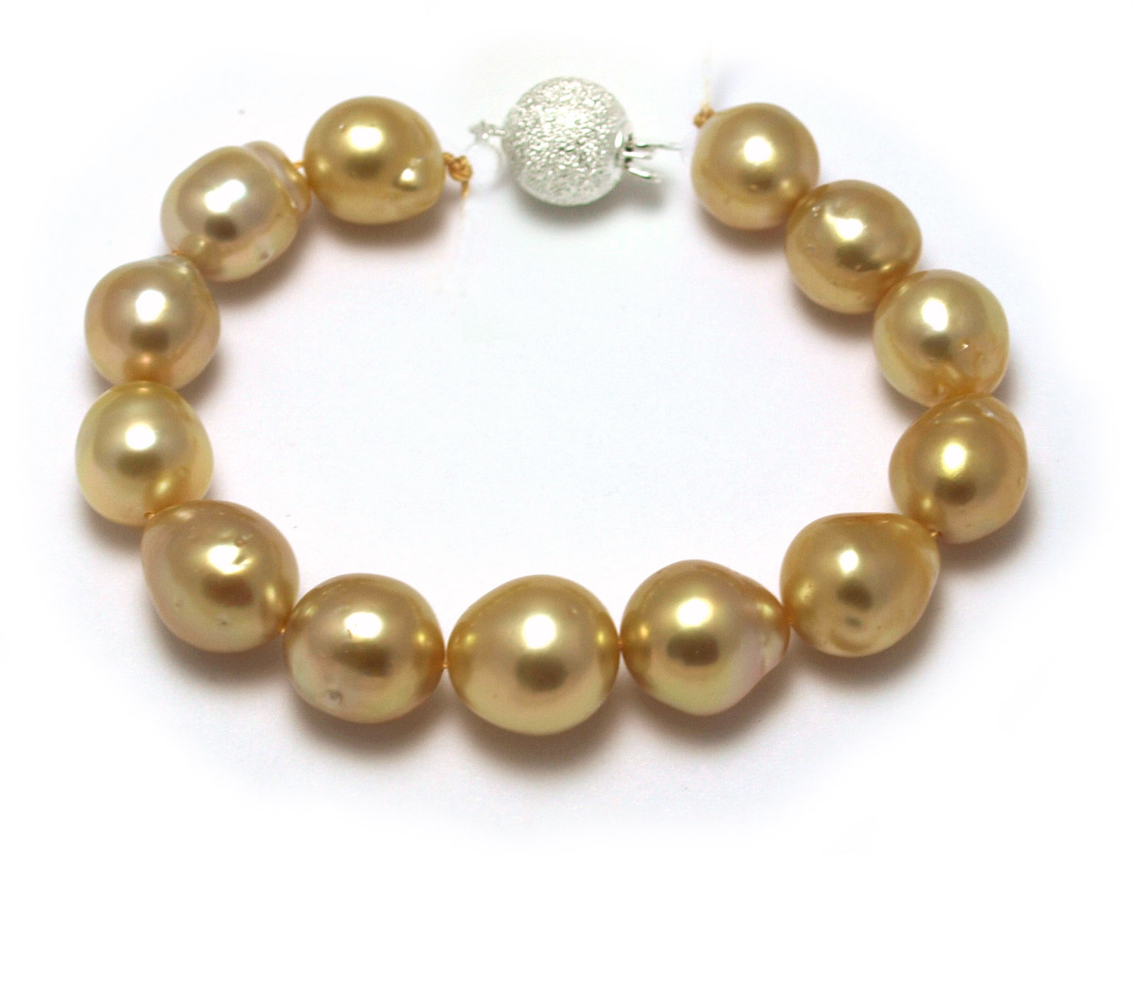 Bracelets with pearls : South sea gold pearl bracelet with deep golden baroque pearls