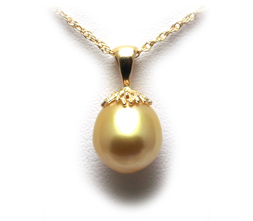 Golden south sea pearl pendant 14k white or yellow gold filigree bail aloadofball Gallery