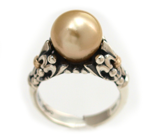 Fleur de Lis South Sea gold pearl ring