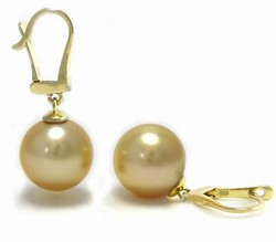 Golden South Sea Pearl Earrings Leverbacks