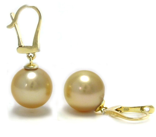 Leverback Earrings with Golden South Sea Pearls