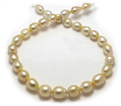14mm Golden South Sea Pearl Necklace