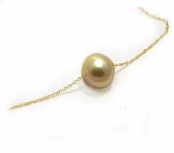 Golden South Sea Pearl Solitaire Necklace