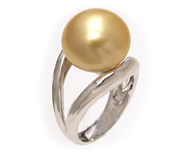 Split Shank Golden South Sea Pearl Ring