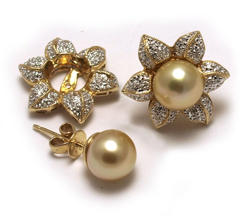 Diamond Earring Jackets With Golden South Sea Pearl Post