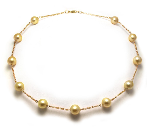 Tincup golden South Sea pearl necklace