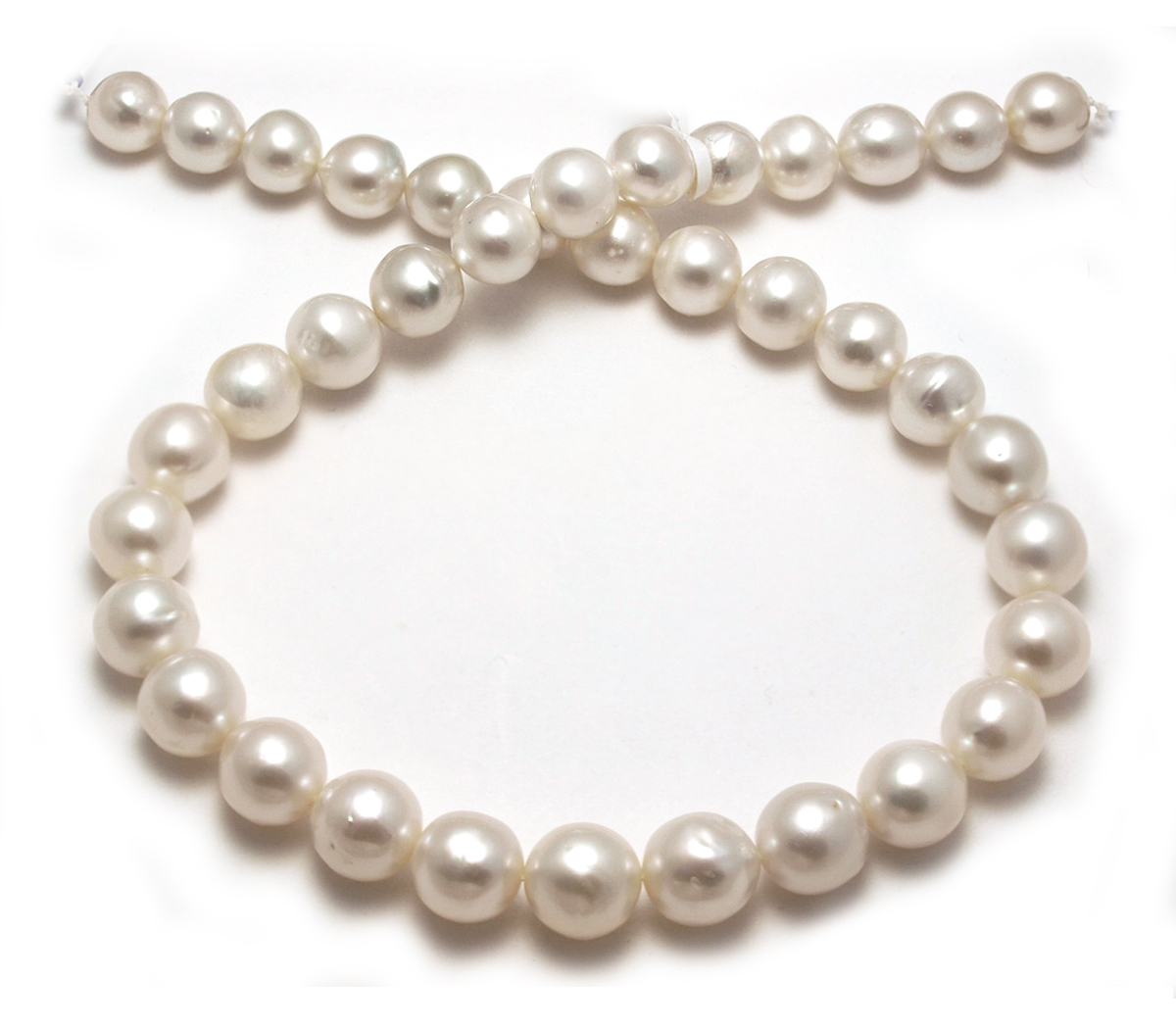 Roundish south sea pearl necklace with semi baroque white for White pearl