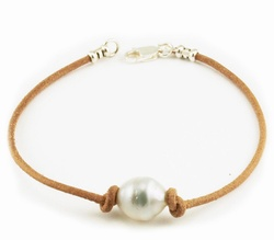 South Sea Pearl Leather Bracelet