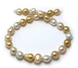 Freeform Baroque White and Golden South Sea Pearl Necklace