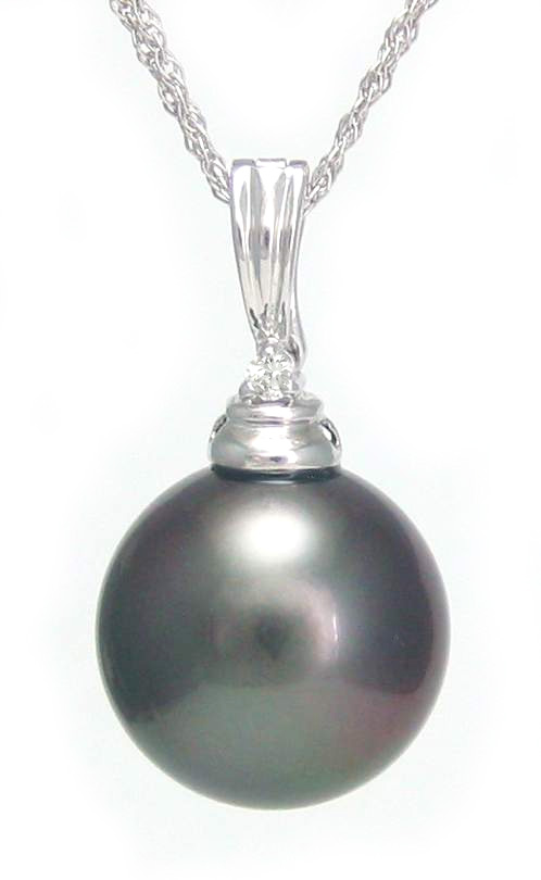 Tahitian black pearl pendant black pearl with chain necklace tahitian pearl pendant aloadofball Image collections