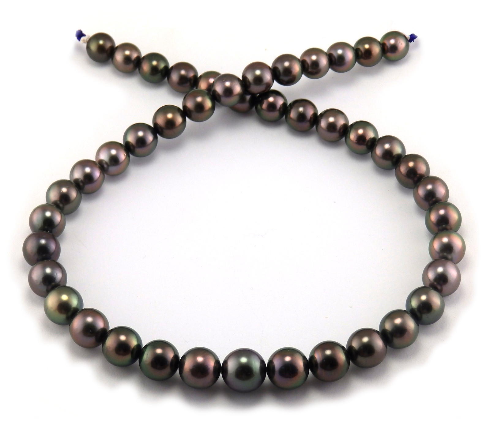 Aubergine Tahitian Pearl Necklace with Purple/Green Overtone