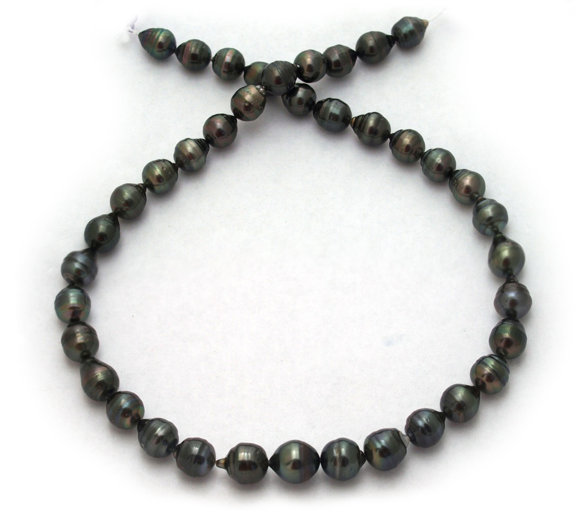 Black Tahitian Pearl Necklace with Semi-Baroque Tahitian ...
