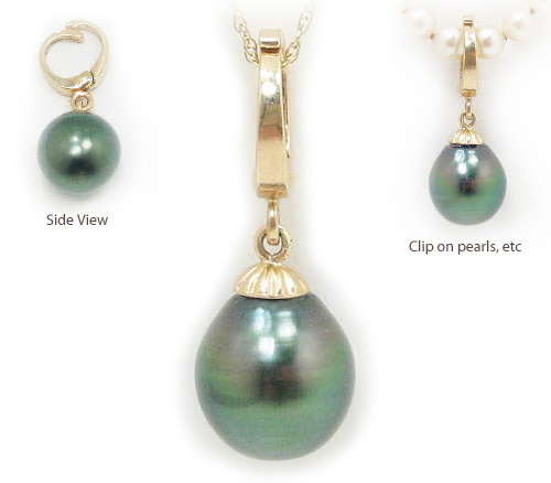 Drop shaped tahitian pearl pendant with enhancer bail in 14k yellow drop shaped tahitian pearl pendant with enhancer bail in 14k yellow or white gold aloadofball Image collections