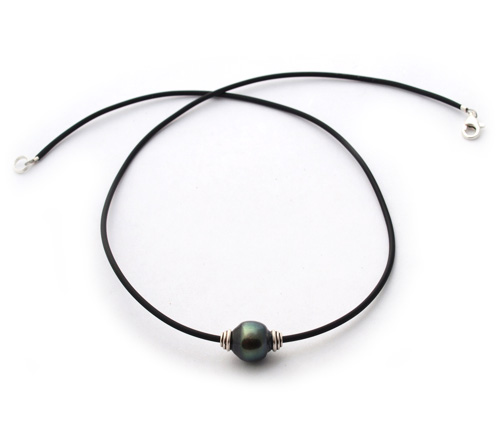 Mens Or Unisex Tahitian Pearl Necklace Solitaire With