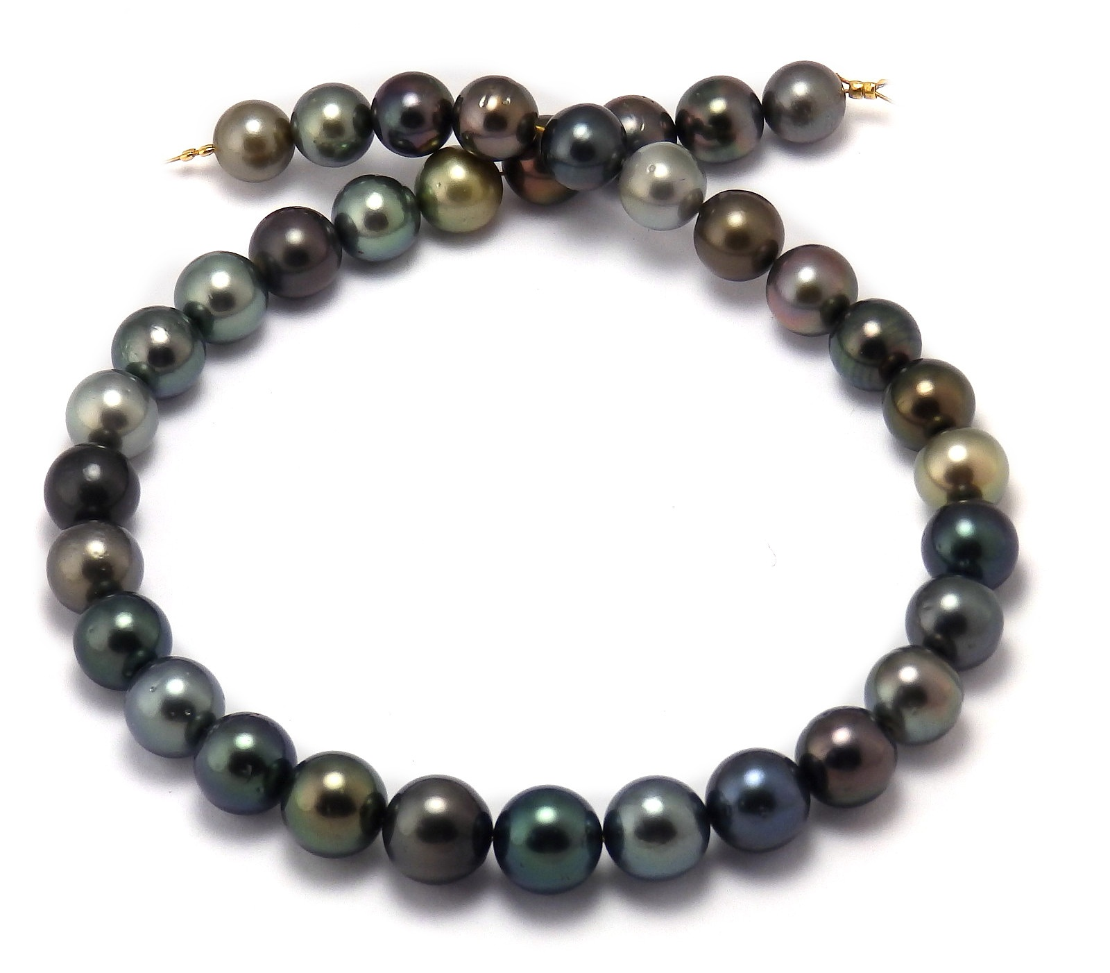 Jeweltone Round Tahitian Pearl Necklace with Multi-Color ...