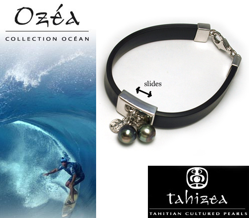 Tahitian Pearl Bracelet in Rubber and  Sterling Silver