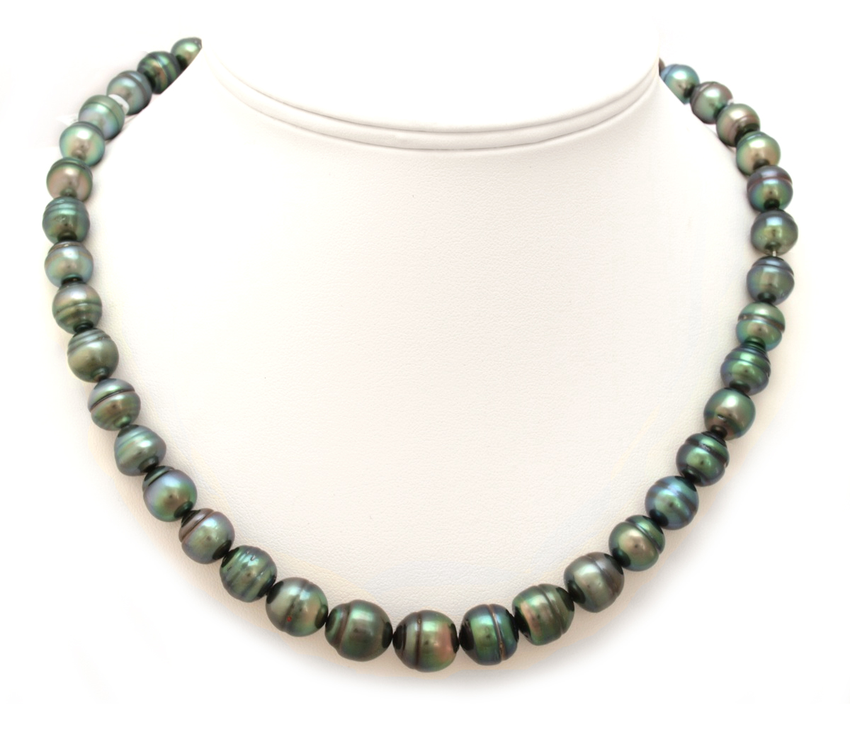 Peacock Green Tahitian Pearl Necklace with Semi Baroque ...
