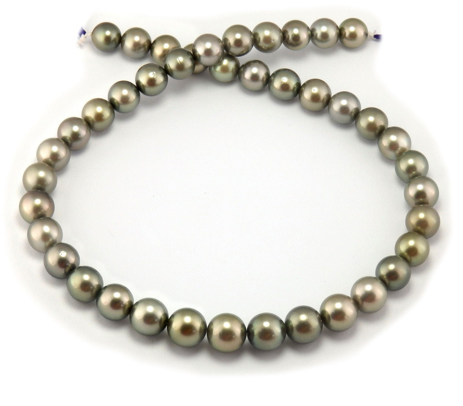 tahitian pearl necklace with green gray tahitian pearls