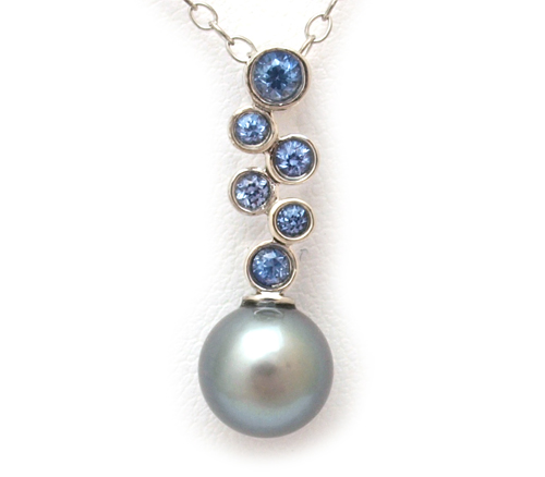 Blue Sapphire and Tahitian Pearl Pendant