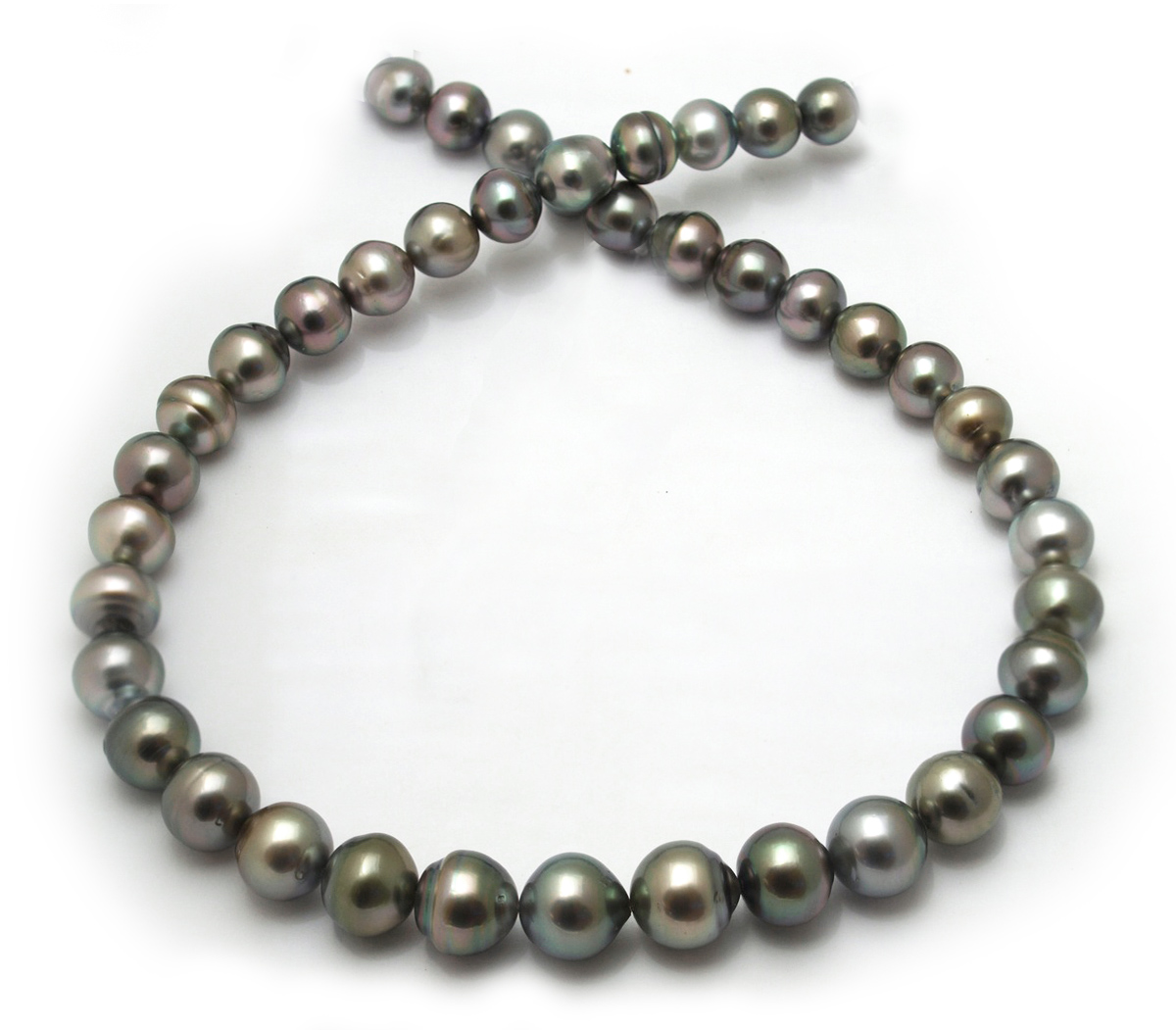 semi tahitian pearl necklace with gray tahitian pearls
