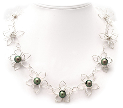 Silver Flower Tahitian Pearl Necklace