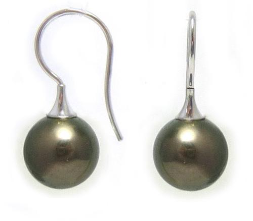 Tahitian Black Pearl Earwire Earrings