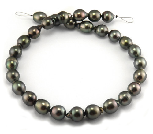 Tahitian pearl necklace with dark pearls
