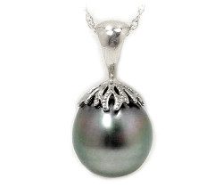 Tahitian pearl pendant tahitian pearl pendant choice of pearl sizes 14k white or yellow gold 109 and up view tahitian pearl pendant tahitian black pearl pendant aloadofball Choice Image