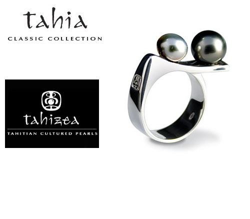 Two Tahitian Pearls Ring in Sterling Silver