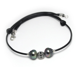 Tahizea Tahitian pearl leather necklace duo